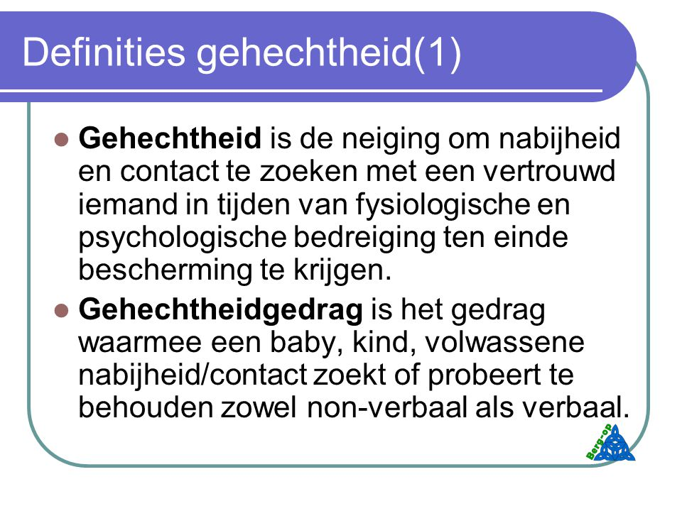 Definities gehechtheid(1)