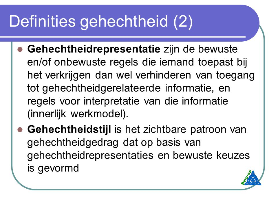 Definities gehechtheid (2)