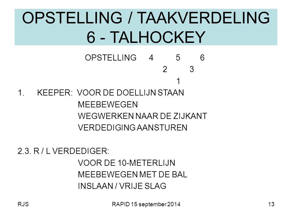 OPSTELLING / TAAKVERDELING 6 - TALHOCKEY