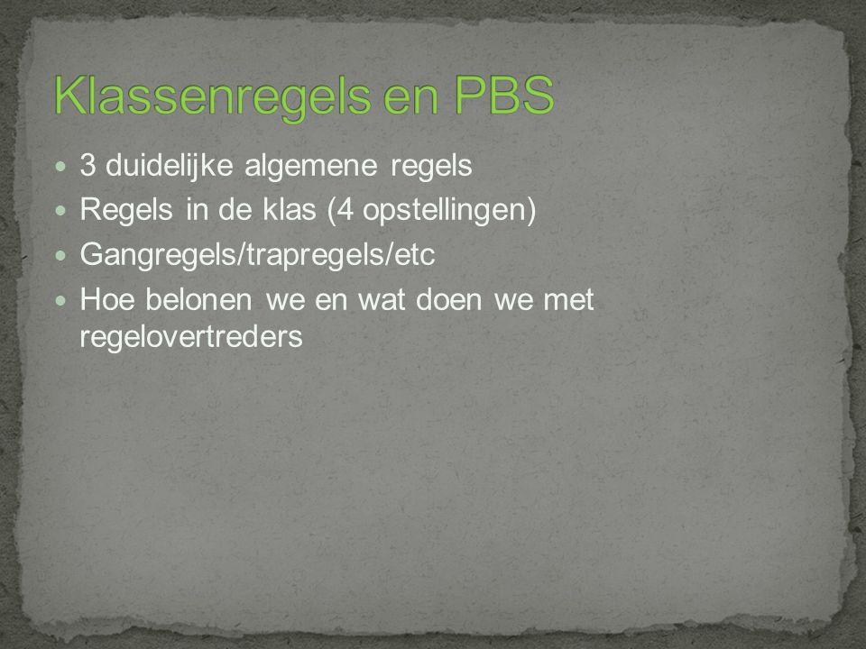 Klassenregels en PBS 3 duidelijke algemene regels