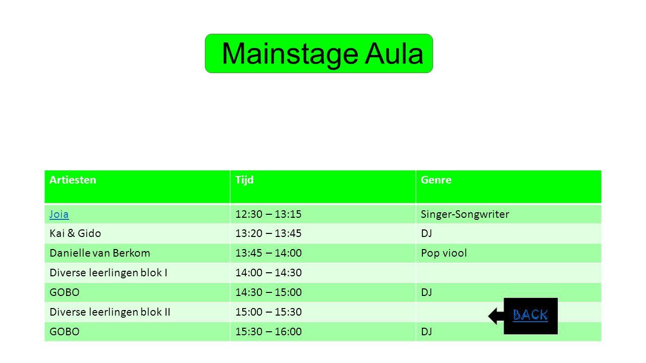 Mainstage Aula Artiesten Tijd Genre Joia 12:30 – 13:15