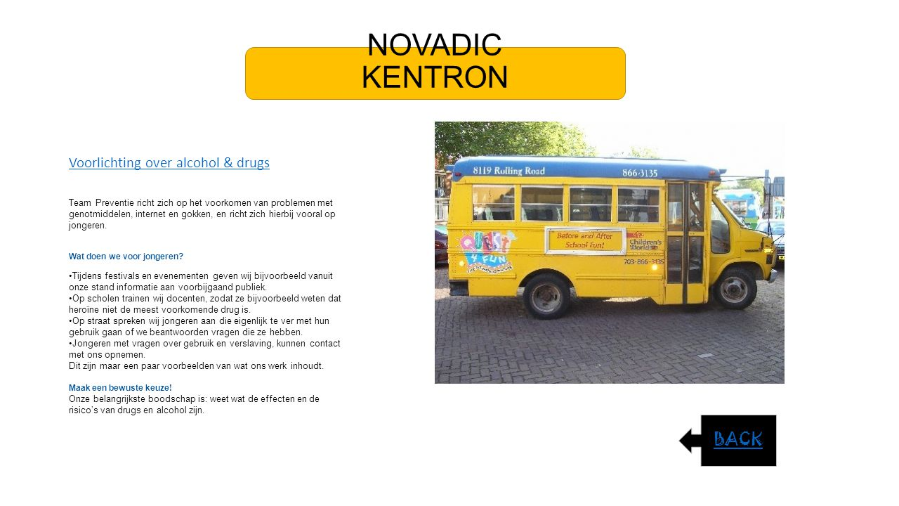 NOVADIC KENTRON BACK Voorlichting over alcohol & drugs