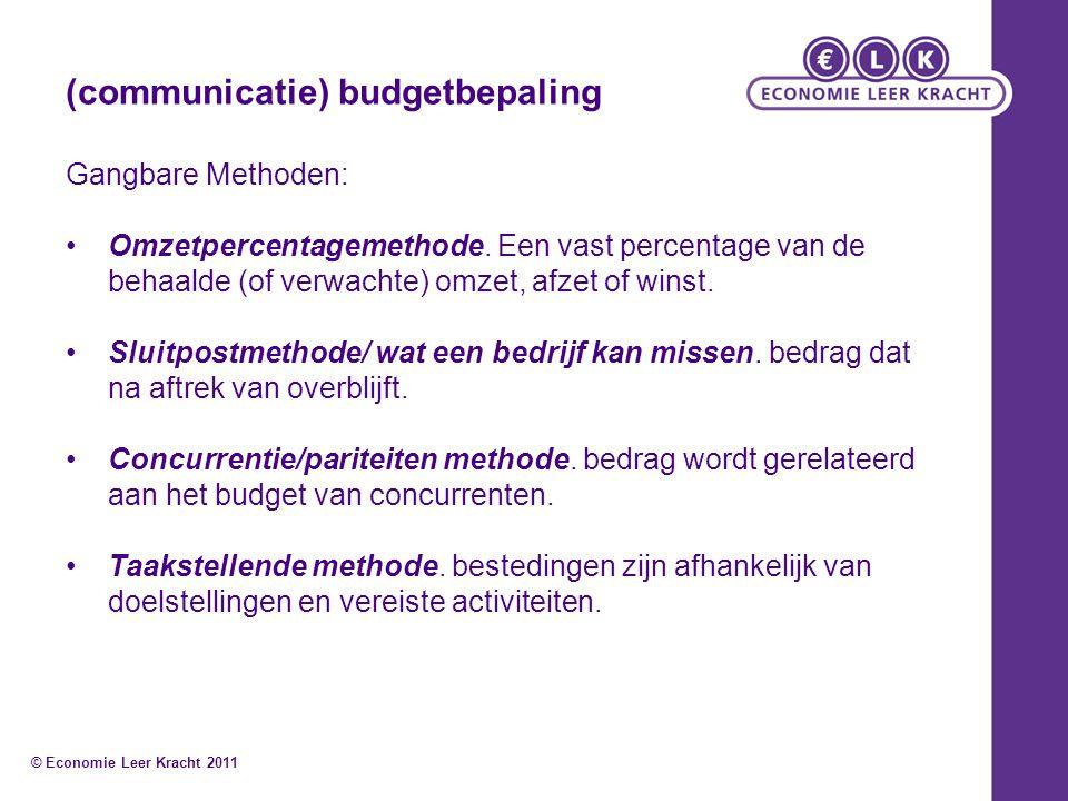 (communicatie) budgetbepaling