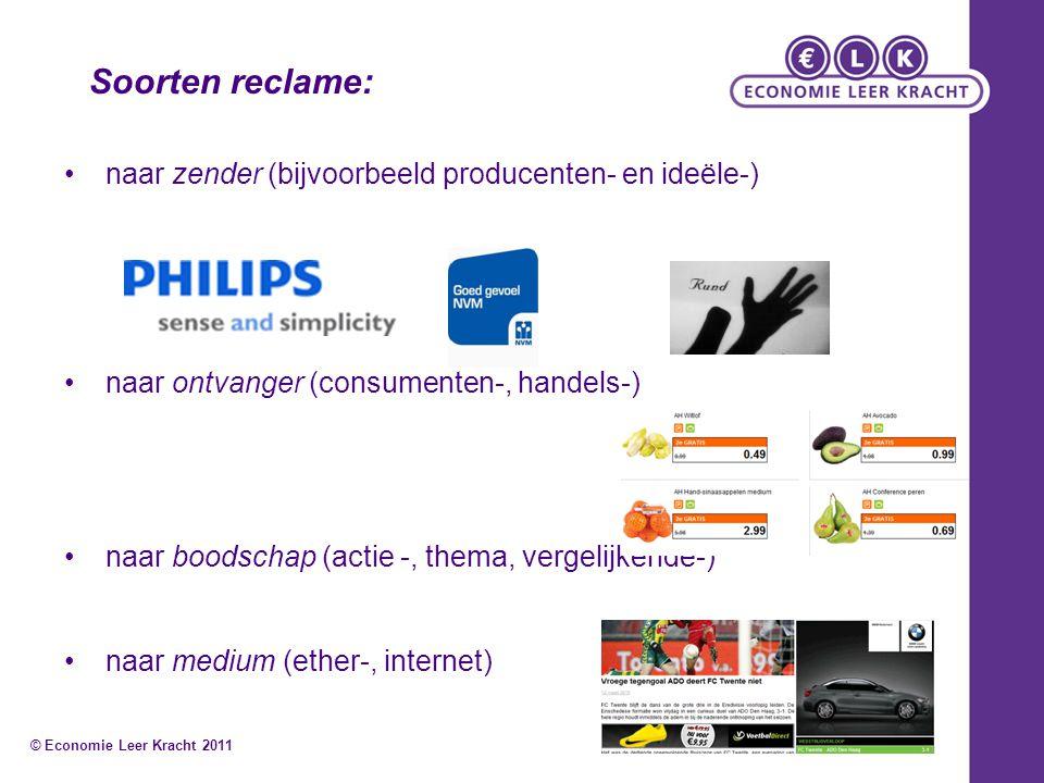 Soorten reclame: • naar zender (bijvoorbeeld producenten- en ideële-)