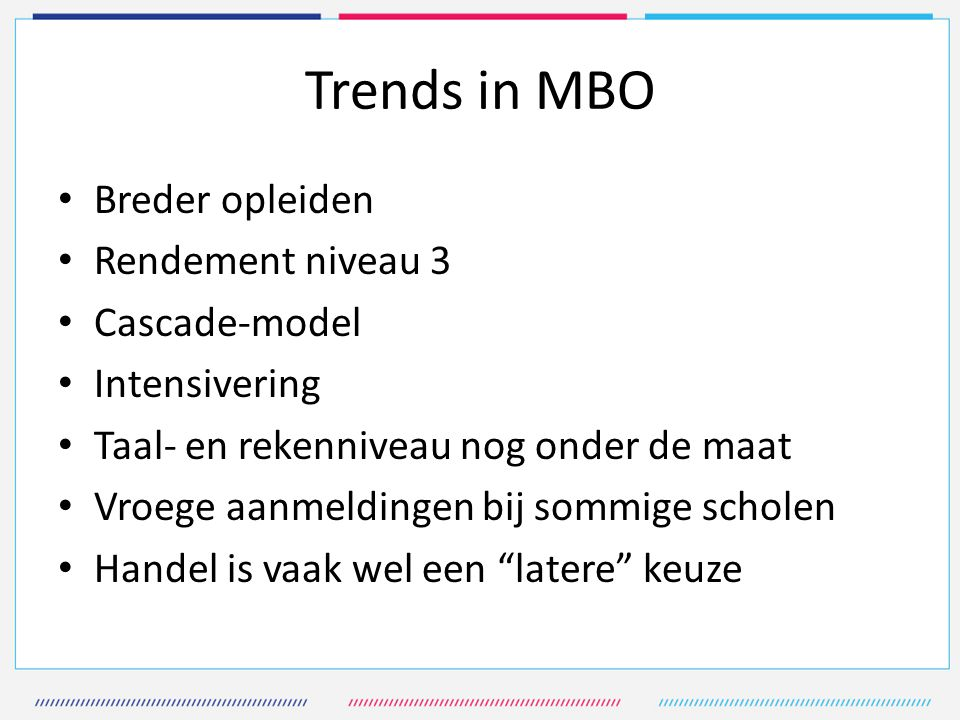 Trends in MBO Breder opleiden Rendement niveau 3 Cascade-model