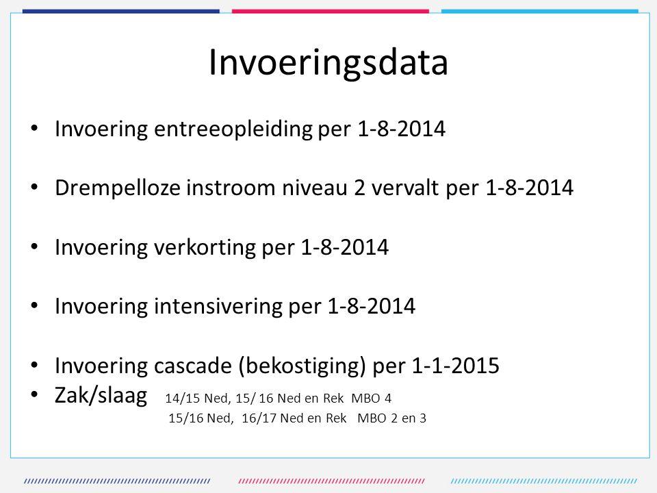 Invoeringsdata Invoering entreeopleiding per 1-8-2014