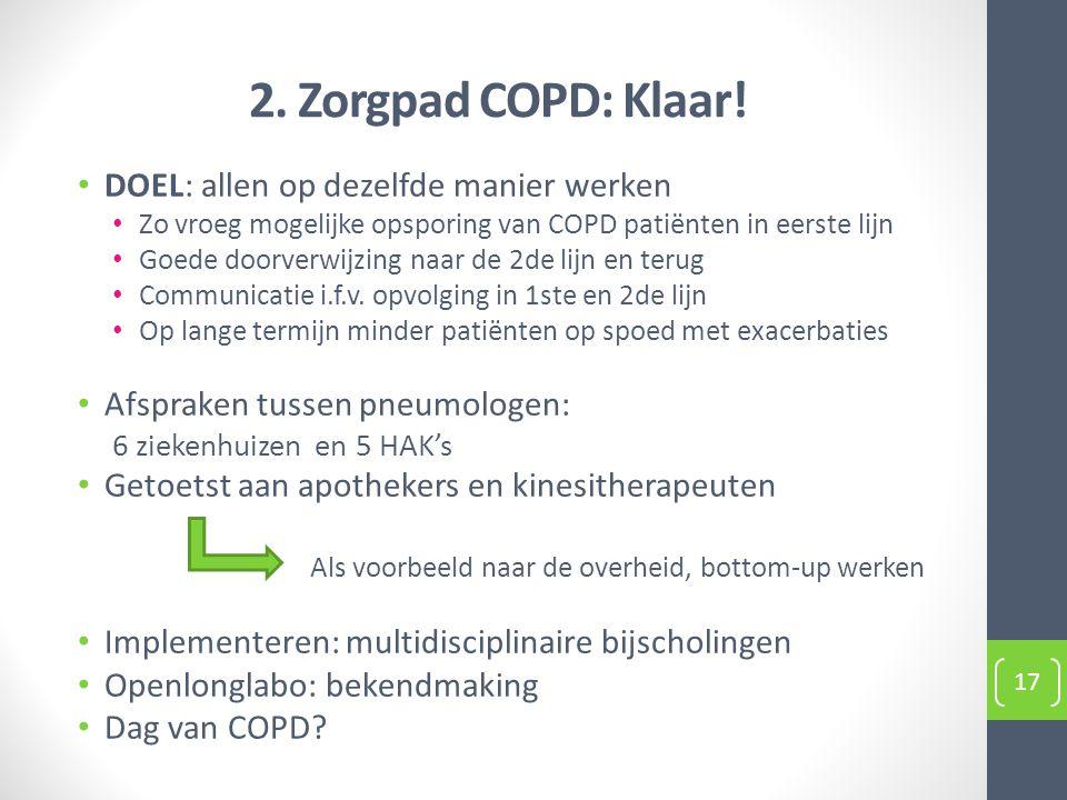 2. Zorgpad COPD: Klaar! DOEL: allen op dezelfde manier werken
