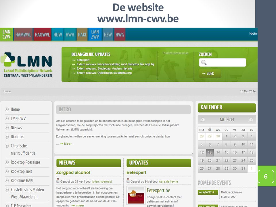 De website www.lmn-cwv.be