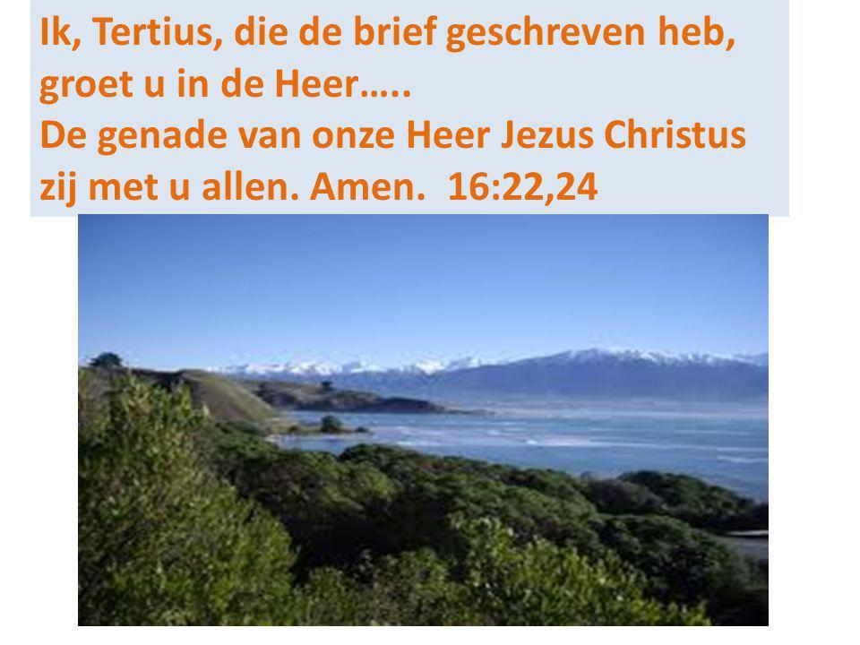 Ik, Tertius, die de brief geschreven heb, groet u in de Heer…