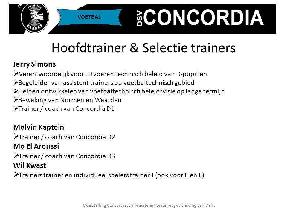 Hoofdtrainer & Selectie trainers