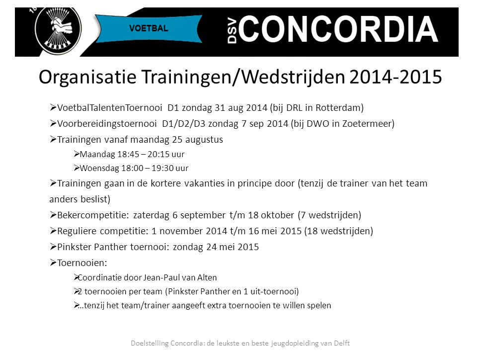 Organisatie Trainingen/Wedstrijden 2014-2015