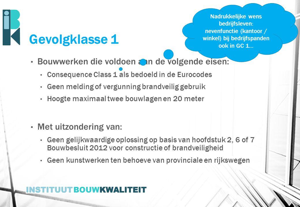 Gevolgklasse 1 Bouwwerken die voldoen aan de volgende eisen: