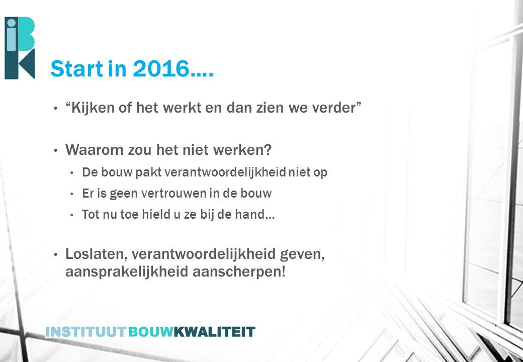 Start in 2016…. Kijken of het werkt en dan zien we verder