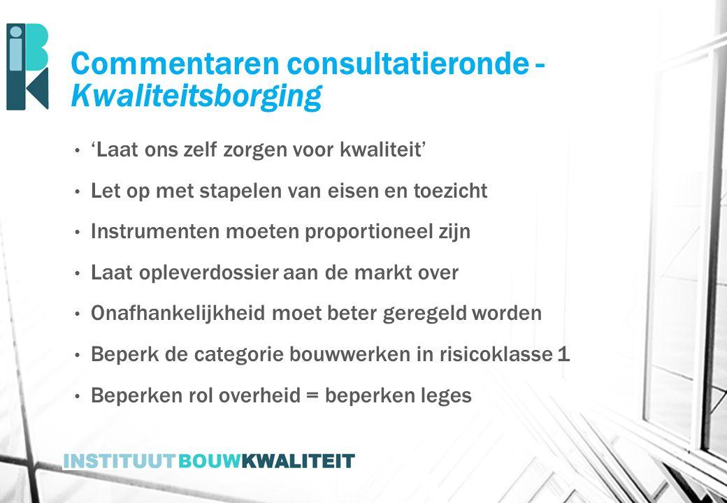 Commentaren consultatieronde - Kwaliteitsborging