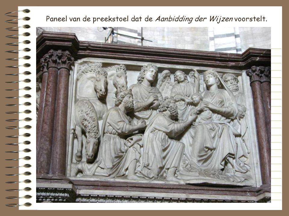 Paneel van de preekstoel dat de Aanbidding der Wijzen voorstelt.