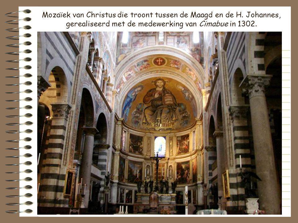Mozaïek van Christus die troont tussen de Maagd en de H