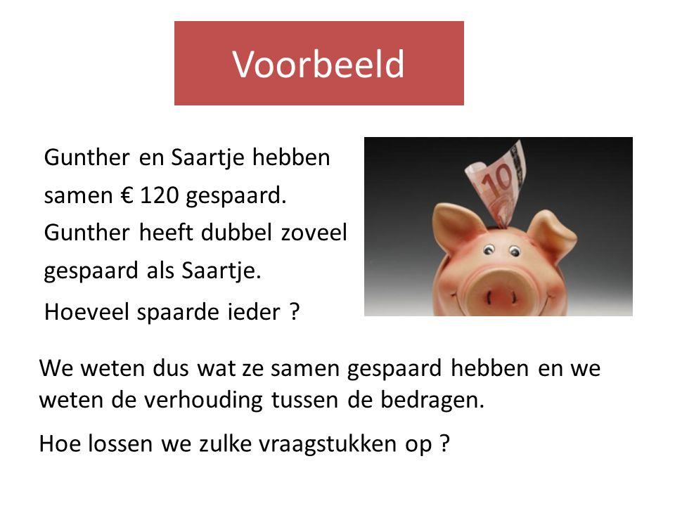 Voorbeeld Gunther en Saartje hebben samen € 120 gespaard. Gunther heeft dubbel zoveel gespaard als Saartje.
