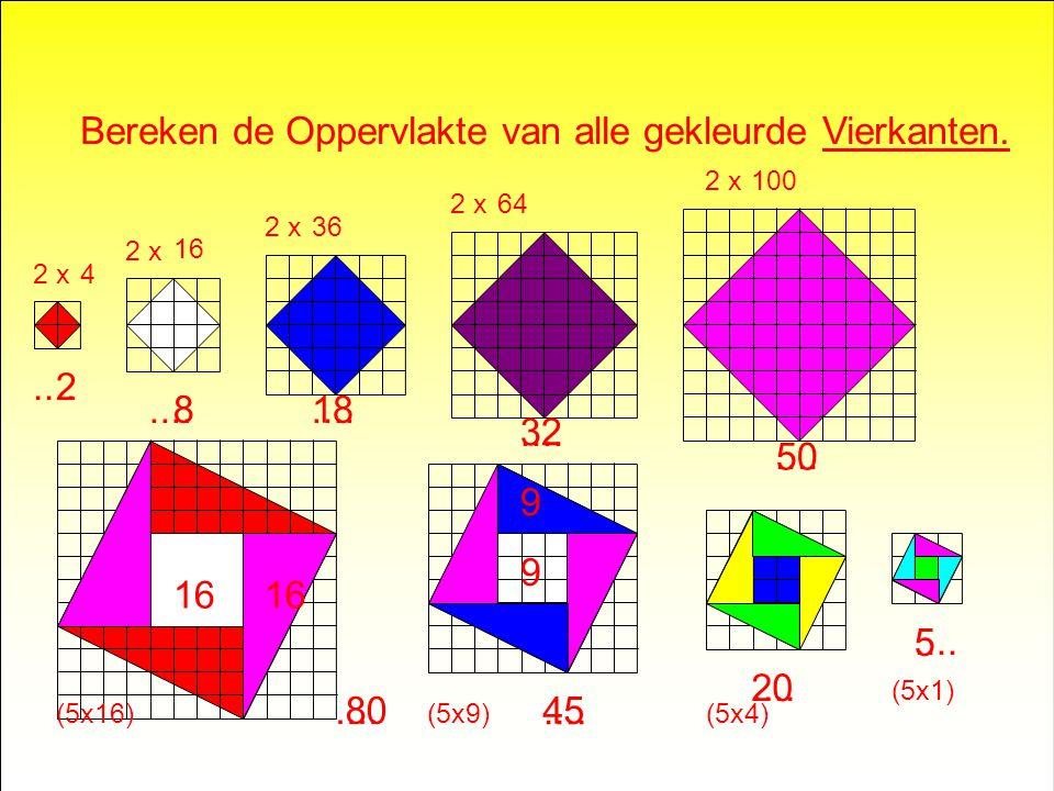 Bereken de Oppervlakte van alle gekleurde Vierkanten.