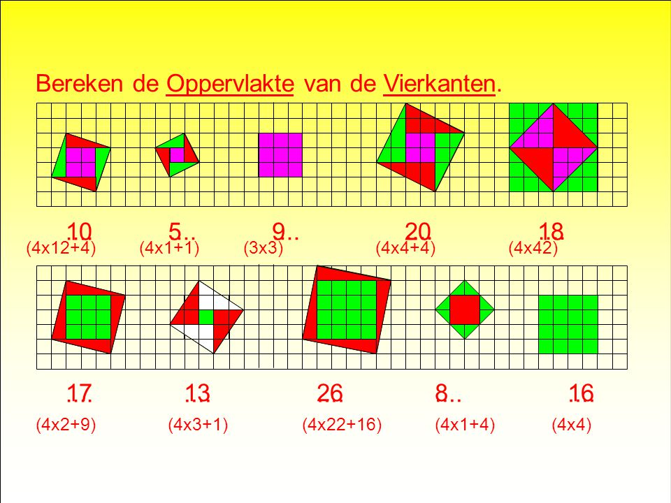 Bereken de Oppervlakte van de Vierkanten.