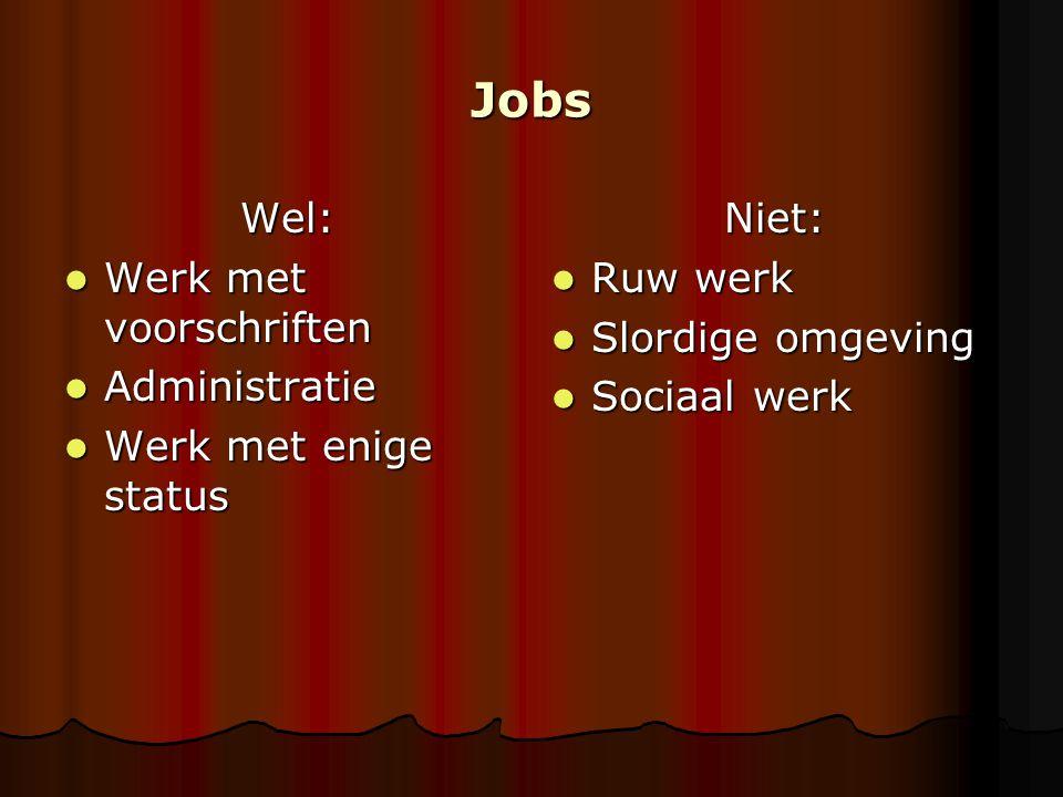 Jobs Wel: Werk met voorschriften Administratie Werk met enige status