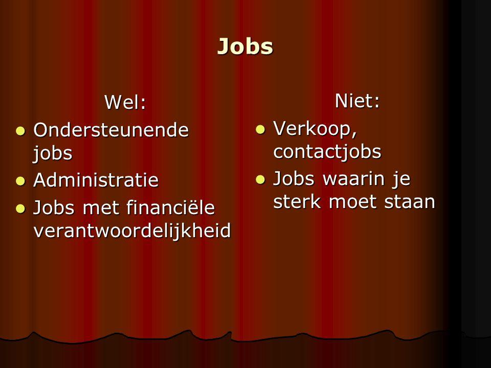 Jobs Wel: Niet: Ondersteunende jobs Verkoop, contactjobs Administratie