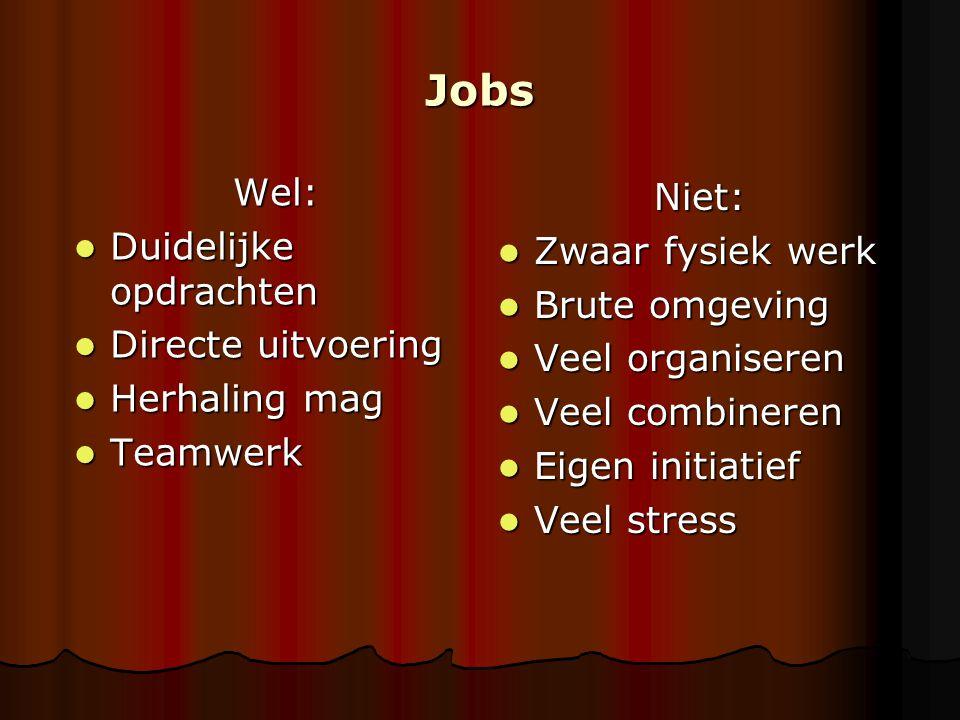 Jobs Wel: Niet: Duidelijke opdrachten Zwaar fysiek werk Brute omgeving