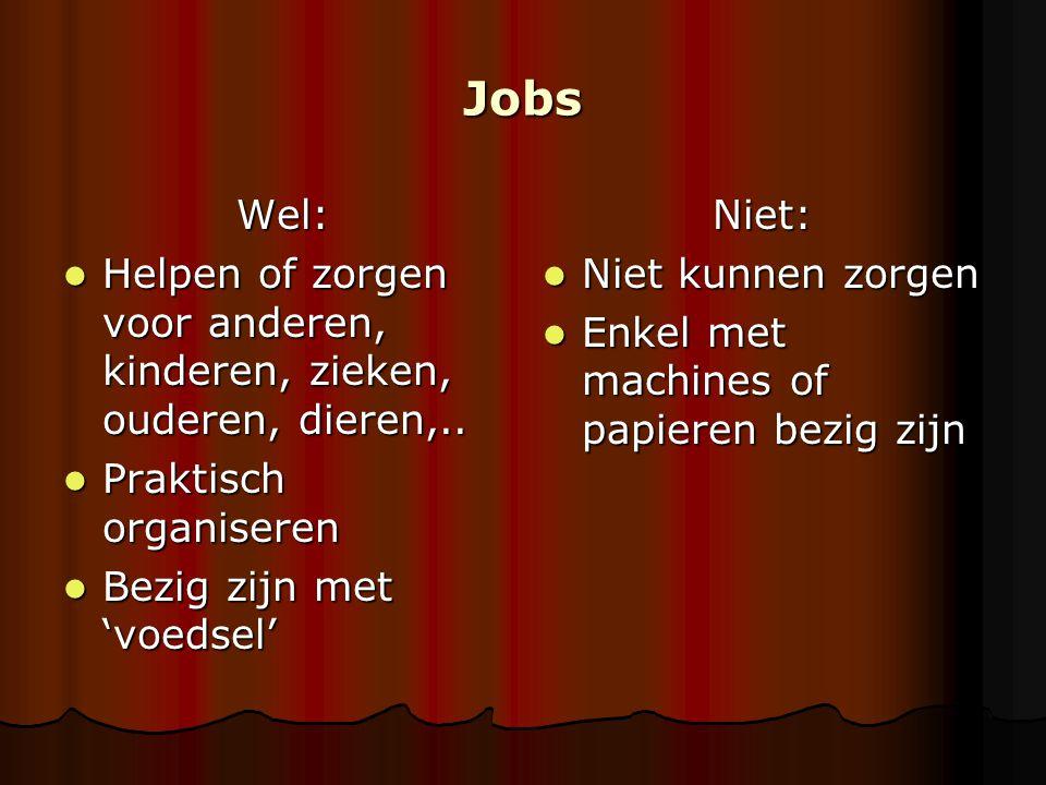 Jobs Wel: Helpen of zorgen voor anderen, kinderen, zieken, ouderen, dieren,.. Praktisch organiseren.