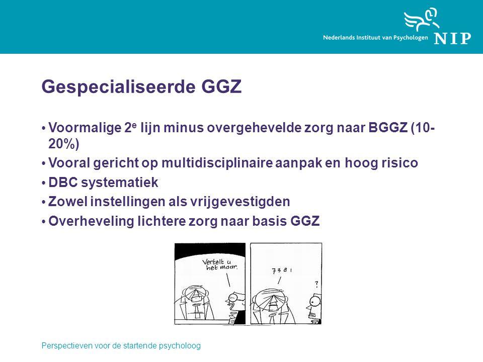 Gespecialiseerde GGZ Voormalige 2e lijn minus overgehevelde zorg naar BGGZ (10-20%) Vooral gericht op multidisciplinaire aanpak en hoog risico.