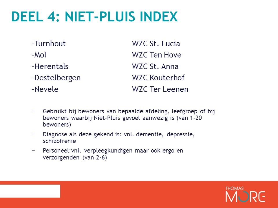 Deel 4: Niet-Pluis index