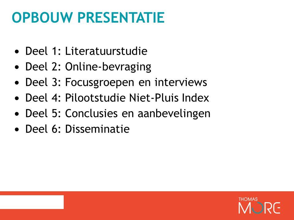 Opbouw presentatie Deel 1: Literatuurstudie Deel 2: Online-bevraging