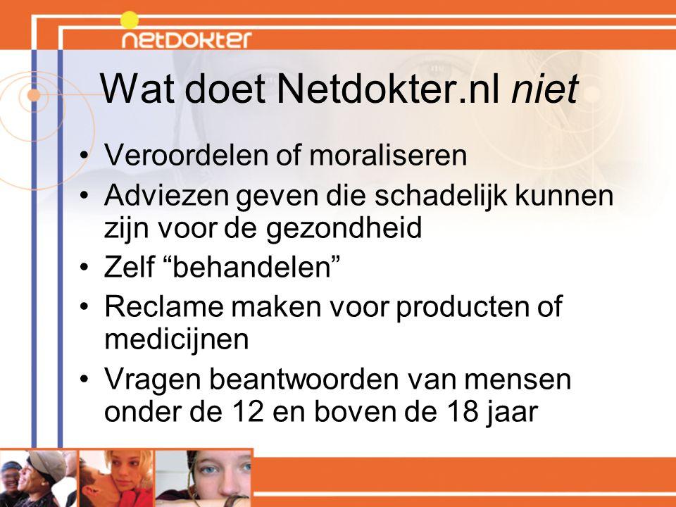 Wat doet Netdokter.nl niet