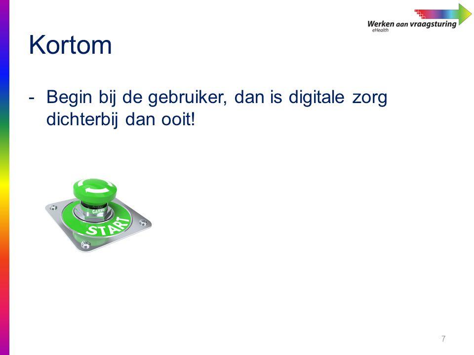 Kortom Begin bij de gebruiker, dan is digitale zorg dichterbij dan ooit!