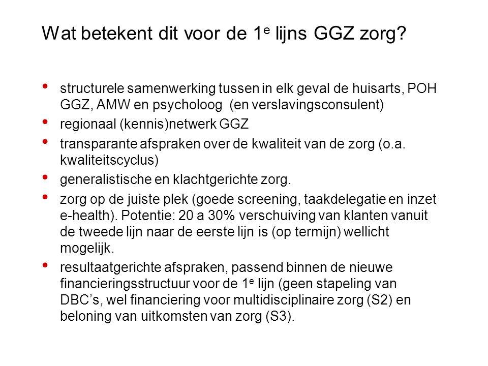 Wat betekent dit voor de 1e lijns GGZ zorg