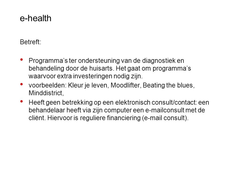 e-health Betreft: