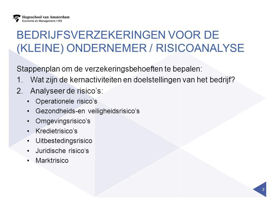 Bedrijfsverzekeringen voor de (kleine) ondernemer / risicoanalyse