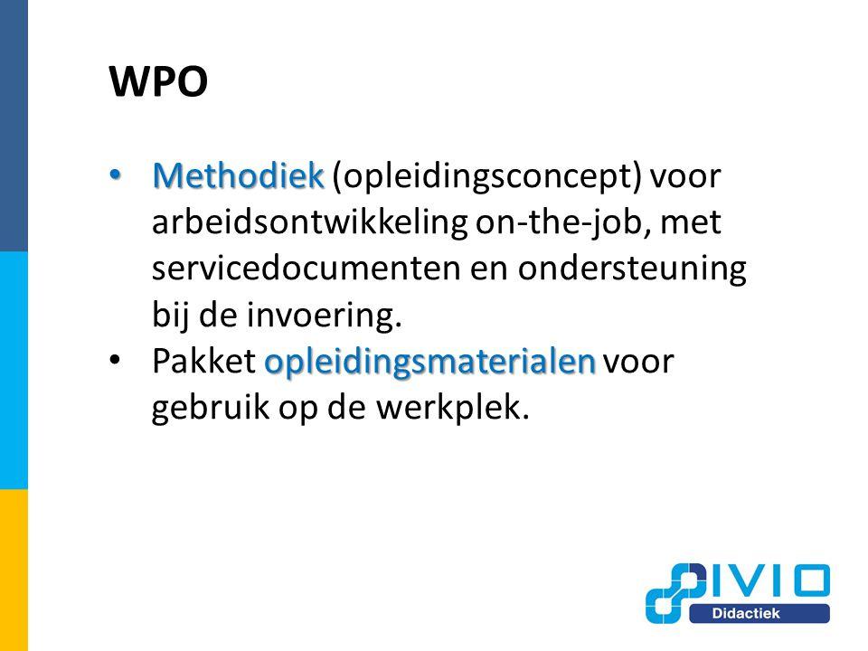 WPO Methodiek (opleidingsconcept) voor arbeidsontwikkeling on-the-job, met servicedocumenten en ondersteuning bij de invoering.