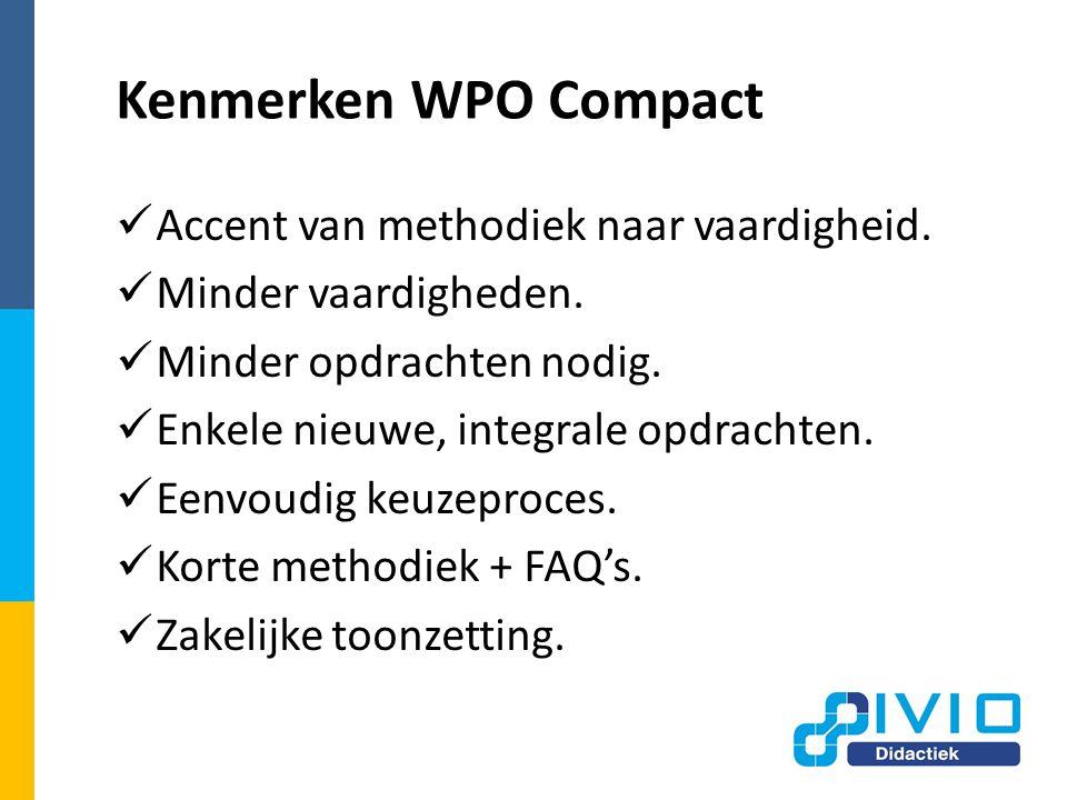 Kenmerken WPO Compact Accent van methodiek naar vaardigheid.