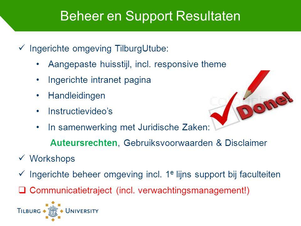 Beheer en Support Resultaten