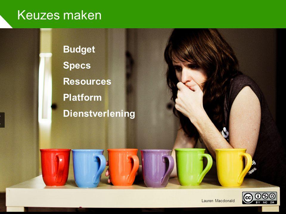 Keuzes maken Budget Specs Resources Platform Dienstverlening