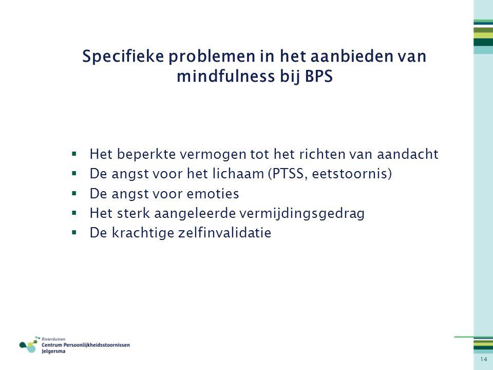 Specifieke problemen in het aanbieden van mindfulness bij BPS