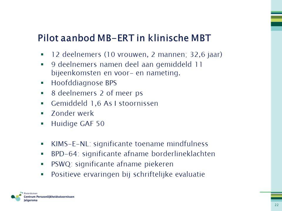 Pilot aanbod MB-ERT in klinische MBT