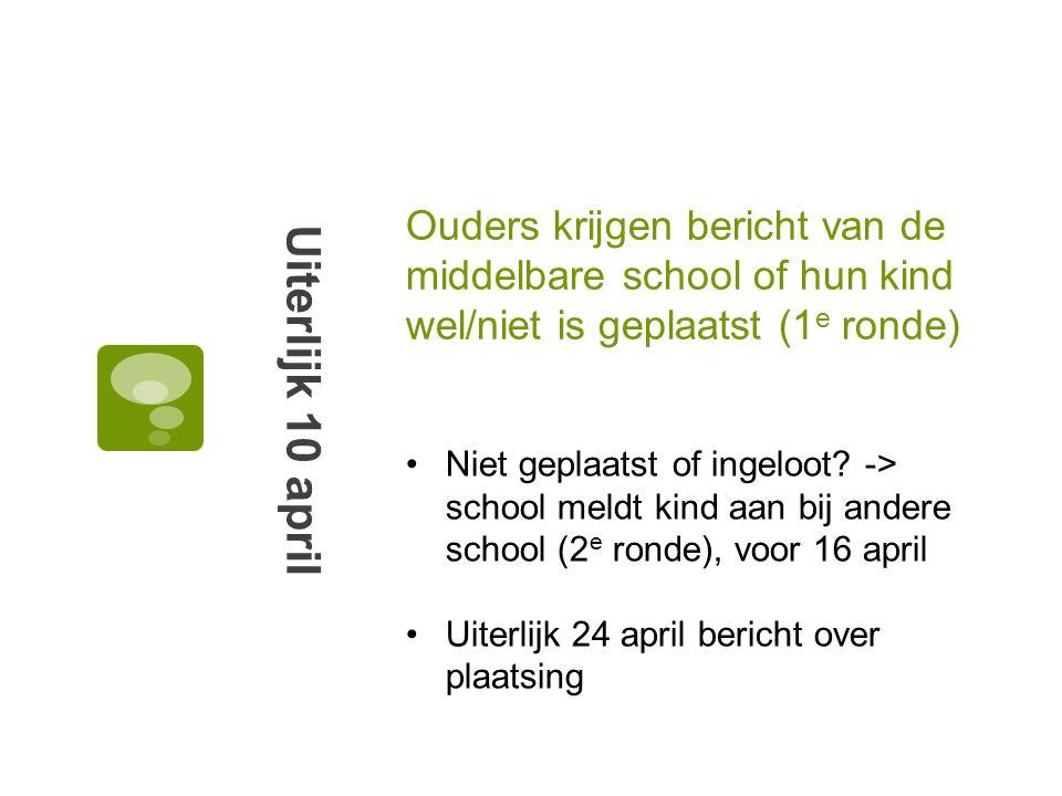 Ouders krijgen bericht van de middelbare school of hun kind wel/niet is geplaatst (1e ronde)