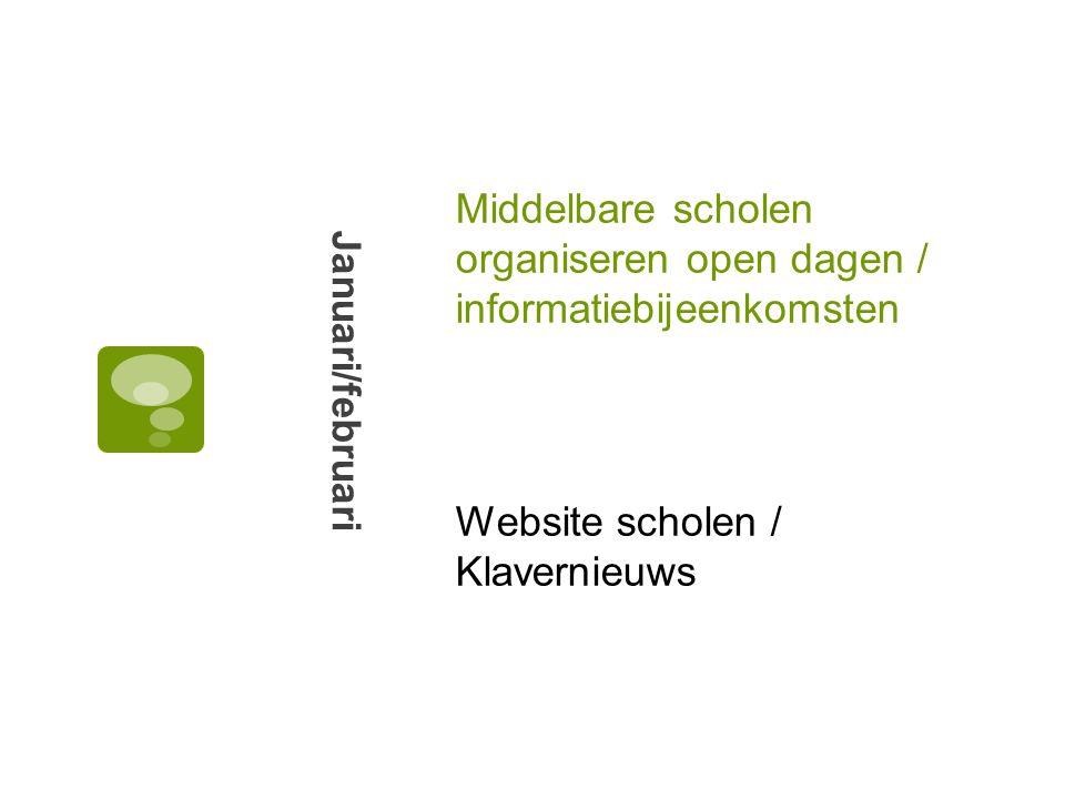 Middelbare scholen organiseren open dagen / informatiebijeenkomsten