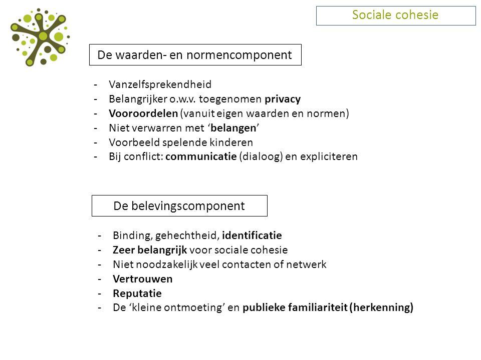 Sociale cohesie De waarden- en normencomponent De belevingscomponent