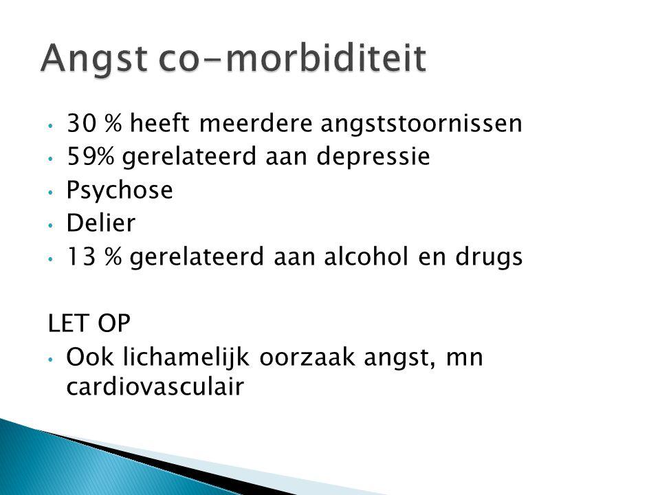 Angst co-morbiditeit 30 % heeft meerdere angststoornissen