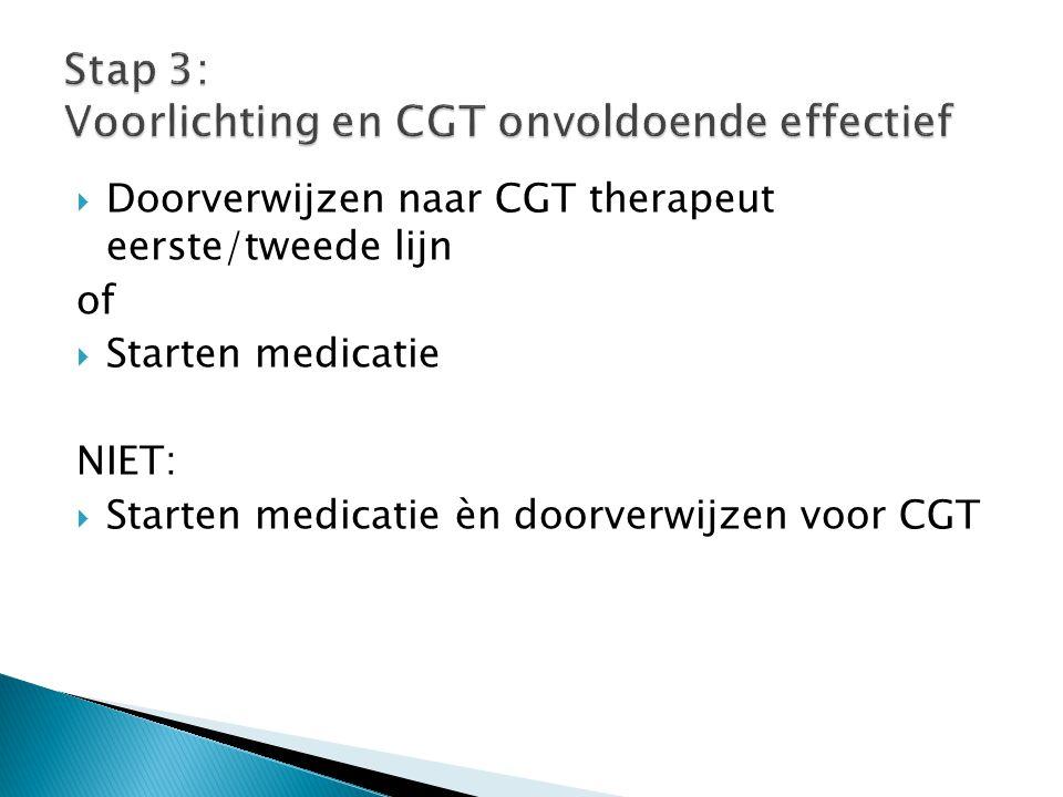 Stap 3: Voorlichting en CGT onvoldoende effectief