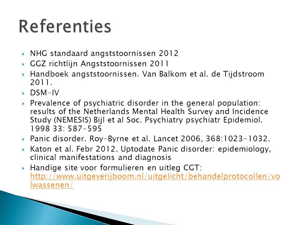 Referenties NHG standaard angststoornissen 2012