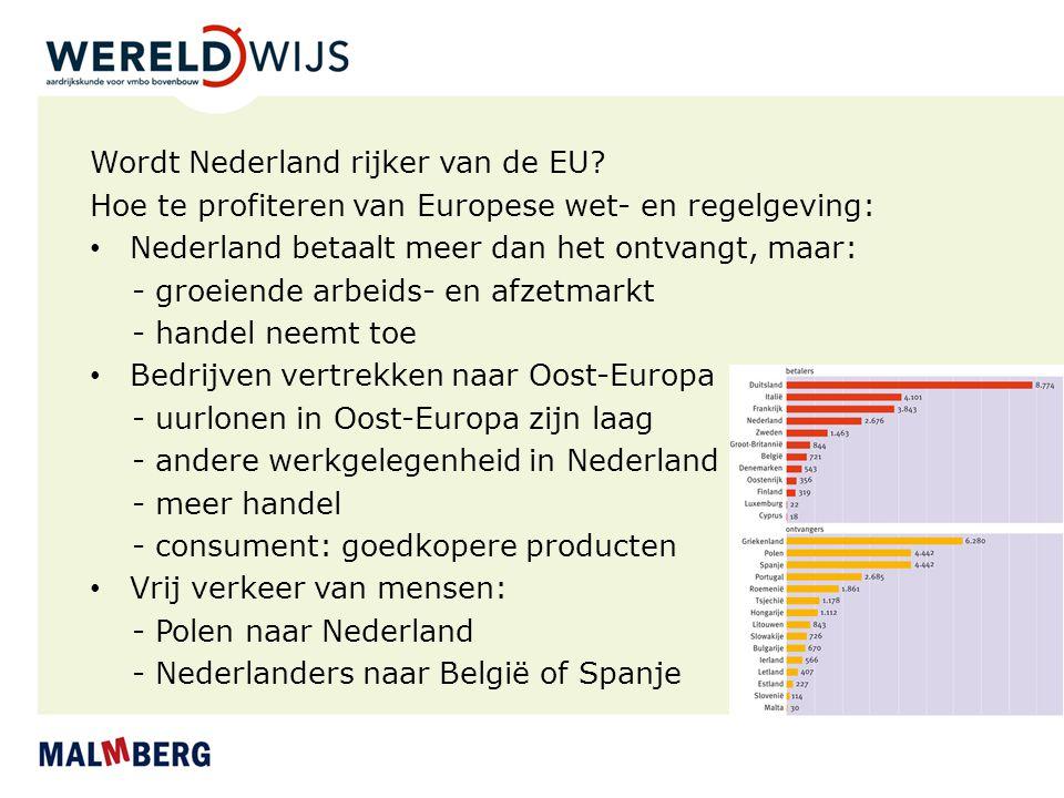 Wordt Nederland rijker van de EU