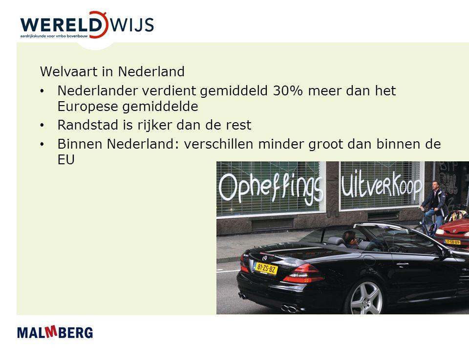 Welvaart in Nederland Nederlander verdient gemiddeld 30% meer dan het Europese gemiddelde. Randstad is rijker dan de rest.