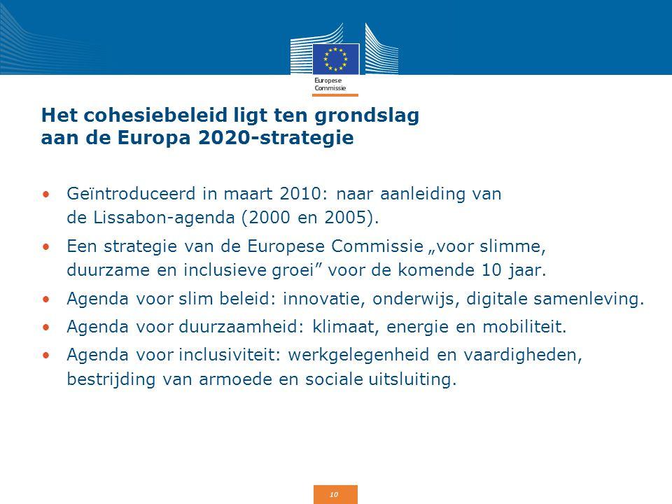 Het cohesiebeleid ligt ten grondslag aan de Europa 2020-strategie